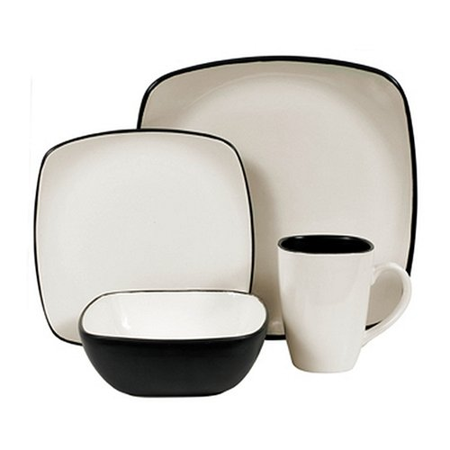 stoneware square 16 piece dinnerware set service for 4 royal white