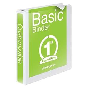 Wilson Jones Round Ring View Binder, 1 Inch, Basic, 362 Series, Customizable, White (W362-14W)