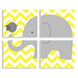 The Kids Room By Stupell Wall Decor Gray Elephant And Birdie On Yellow Chevron Quadtrich