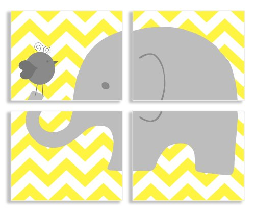 The Kids Room by Stupell Gray Elephant and Birdie on Yellow Chevron 4-Pc Rectangle Wall Plaque Set - 1