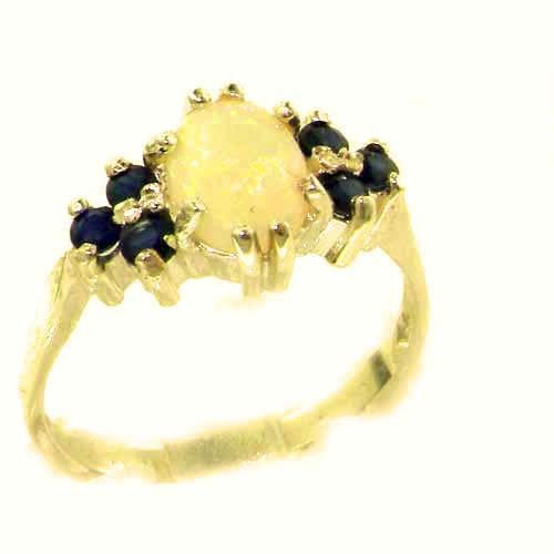 Ladies Contemporary Solid Yellow Gold Natural Opal & Sapphire Ring - Size 9.25 - Finger Sizes 5 to 12 Available