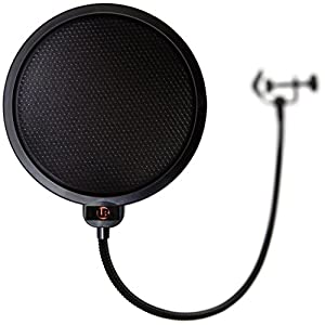 VocalBeat Pop Filter for Professional Sound Recording - Strong Gooseneck Holder - Double Net Shield - Protects the Mic From Saliva - Use This Pop Screen with the Best Microphone Brands Such As Blue - Exclusive Metal Mesh Layer Added for Even Better Result