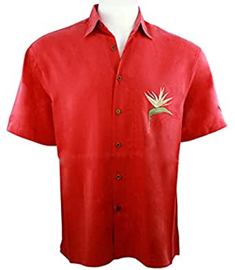 Bamboo cay single palm men 39 s tropical style red shirt for Bamboo button down shirts