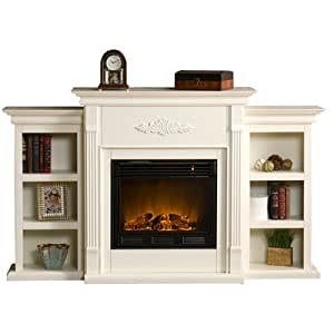 White Electric Fireplace With Storage Bookcases Antique Ivory Family Room