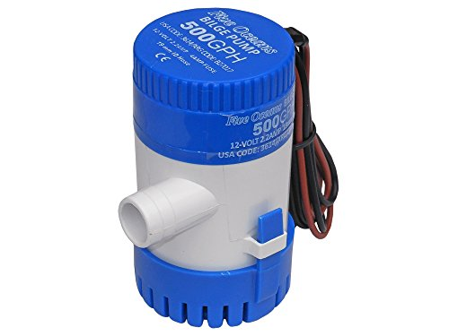 Marine Electric Bilge Pump 12v. 500 gph for Boat, Caravan . Five Oceans