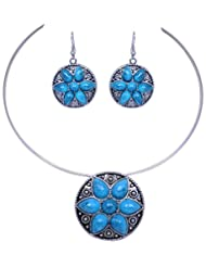 Gehna Turquoise Gemstone Studded Pendant & Earring Set With Steel Wire