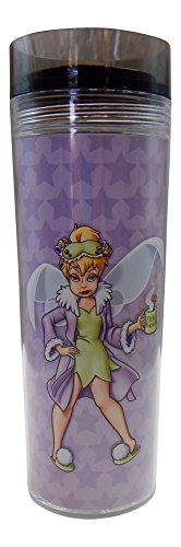 Disney Tinker Bell Mornings Travel Coffee Mug Tumbler with Worn Out Tinker Bell on One Side and the Saying Mornings arent Magical on the Other Side (Disney Coffee Travel Cup compare prices)