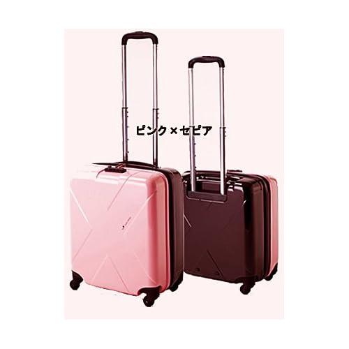 HIDEO WAKAMATSU(ヒデオワカマツ)機内持込適合・最大容量40L収納スーツケース マックスキャビン (ツートンカラー)4輪小型 Sサイズ TSAロック (ピンク×セピア)