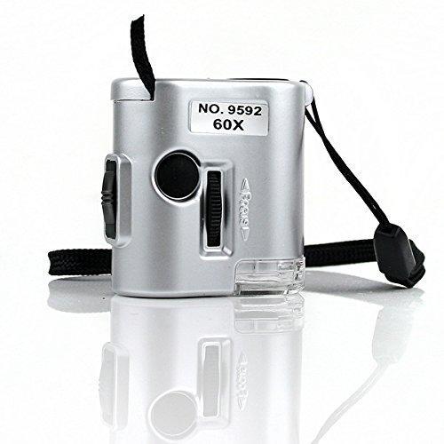 Mini 60X Pocket Microscope Loupe Led Uv Light Magnifier