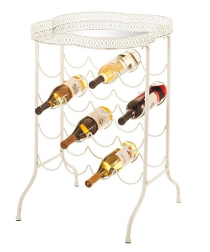 """29.5"""" Elegant Distressed Off-White Mirrored Side Table With Wine Rack front-781897"""