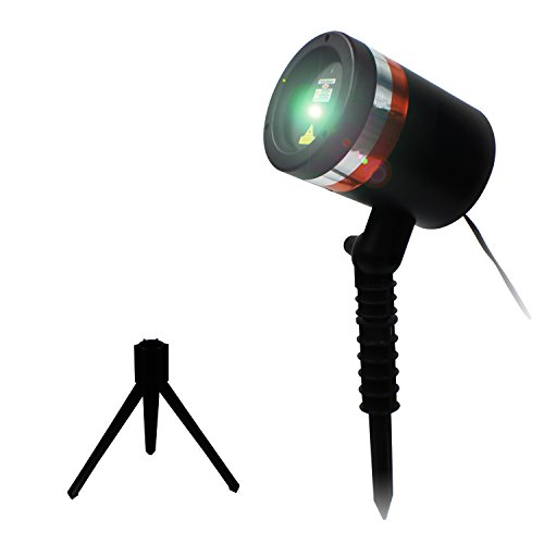 Laser Lights Projector Extra Bright for Holidays by LIGHT BURST- Green & Red Star Show -Christmas Holiday Lazer Projectors Light and Decorations for Home - Auto OFF sensor, Indoor/Outdoor Stands.