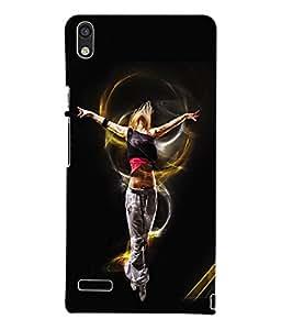 Fuson 3D Printed Dance Designer Back Case Cover for Huawei Ascend P6 - D706