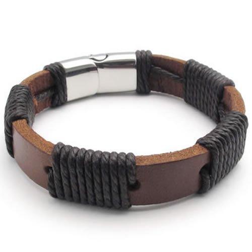 Konov Jewellery Brown Braided Genuine Leather Unisex Mens Bracelet, Stainless Steel Clasp, Colour Brown Silver, Length 8