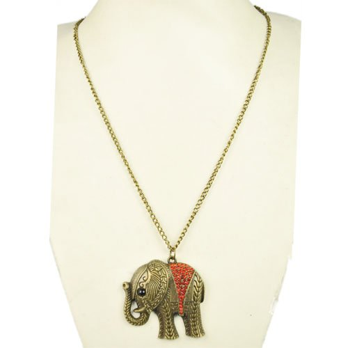 India Antique Brass Elephant Charm Necklace with Red Rhinestones.3pcs/lot,nl-1797