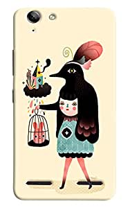 Omnam Lady And Animal Effect Printed Designer Back Cover Case For Lenovo Vibe K5 Plus