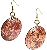 Handmade Red Patinated Copper Disc Earrings by John S Brana Handmade Jewelry - High-Quality Durable Copper Earrings - Lightweight - Lifetime Guarantee