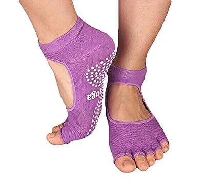 Slip Yoga Toe Socks - Toe Socks Ladies Thick Socks Yoga--Toe Halter--Purple