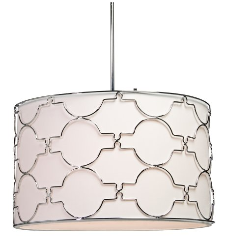 Artcraft Lighting SC645 Morocco 5-Lite Circular Light Fixture, Chrome with White Linen Shade