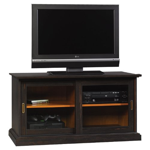 Image of Antiqued Black Widescreen TV Stand (B002PNDN90)