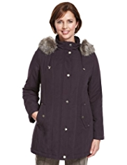 Classic Detachable Hood Faux Fur Trim Padded Parka with Stormwear™
