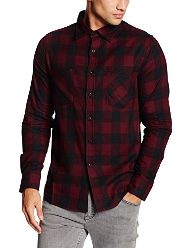 Urban Classics Checked Flanell Shirt-Camicia Uomo    Mehrfarbig (blk/burgundy 651) Medium