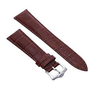 Pulsera Correa de Cuero Color Marrón Repuesto para Reloj Moda 22mm marca bsupermart