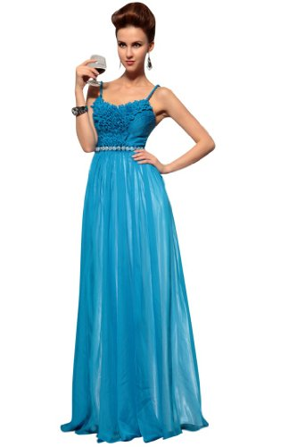 kingmalls Womens Blue Long Elegant Formal Evening Party Gowns Dresses (Small)