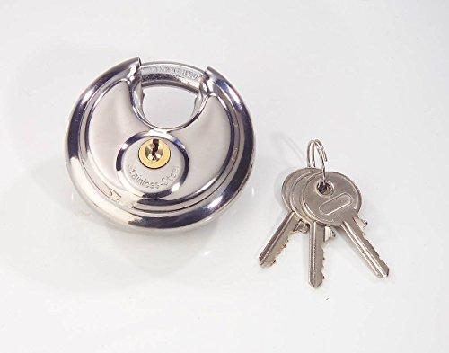 Diskusschloss-Schlosskrper-aus-Edelstahl-mit-gehrtetem-Verschlussbgel-und-3-Schlssel-70mm-sichern-Sie-ihr-Hab-und-Gut