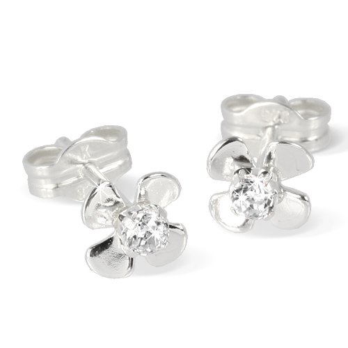 SilberDream earring flower with white Zirkonia 925 Sterling Silver SDO508W