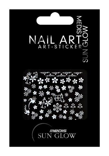 Medis Sun Glow Nagelsticker Ornamente Silber, Blumen/Floral-Motive IV, Silber mit Silber-Strass