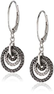 Sterling Silver Black and White Diamond Circle Earrings (1/2 Cttw, I Color, I3 Clarity)