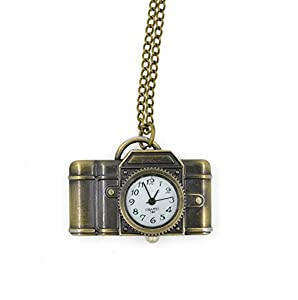 CHOP MALL® Vintage Bronze Camera Shape Pendant Necklace Watch