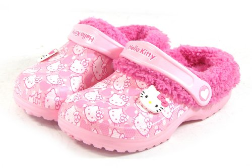 Hello Kitty SNOW Kids Fur Warm Slippers Shoes for Girls Clogs Crocs Style Pink US Size 8.5 House Garden