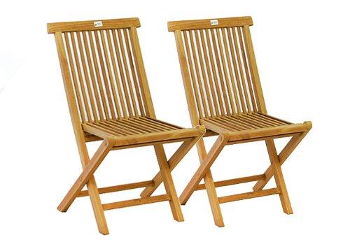 Teak klappbar Holz massiv Set Stuhl DIVERO Stühle 2er n0OwkN8XP