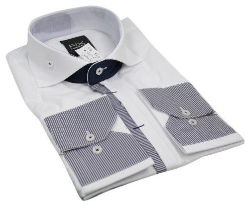 Mens Italian Design Big Button Collar Shirt White Very Slim Fit Smart or Casual