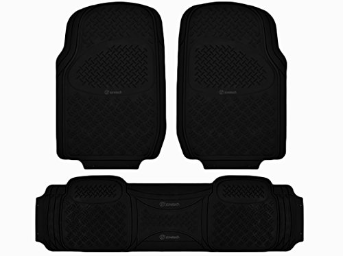 Zone Tech 3-Piece Universal Fit Rubber Heavy Duty Vehicle Floor Mats, Black (Clear Mats For Chevy Cruze compare prices)