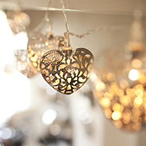 10 Filigree Heart Battery Operated LED Fairy Lights by Lights4fun