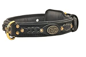 "Dean and Tyler ""DEAN'S LEGEND"", Dog Collar with Black Padding and Italian Hardware - Black - Size 26-Inch by 1-1/2-Inch - Fits Neck 24-Inch to 28-Inch"