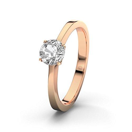 21DIAMONDS Women's Ring 14Carat 585Red Gold La Spezia White Topaz Brilliant Cut Engagement Ring