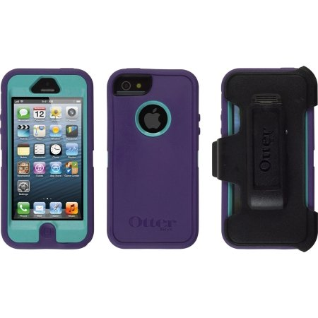 Best Price OtterBox Defender Series Case for iPhone 5 with Belt Clip - Retail Packaging - Purple / Teal