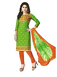 PShopee Green & Orange Cotton Embroidery Unstitched Multistylist Dress Material