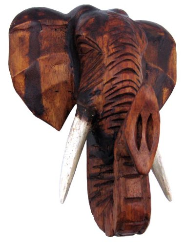 Hand Carved Wooden Elephant Head Wall Hanging