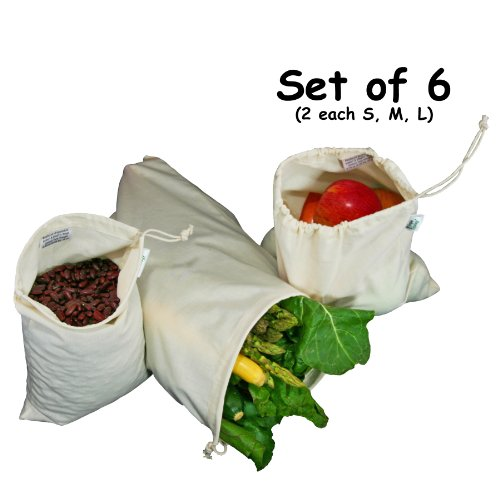 Organic Cotton Muslin Produce Bag - Set of 6 (2 each of Lg., Med. & Sm.)