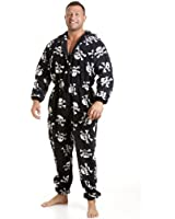 Camille Classic Mens All In One Black And White Skull Print Fleece Pocketed Pyjama Onesie Size S-5XL