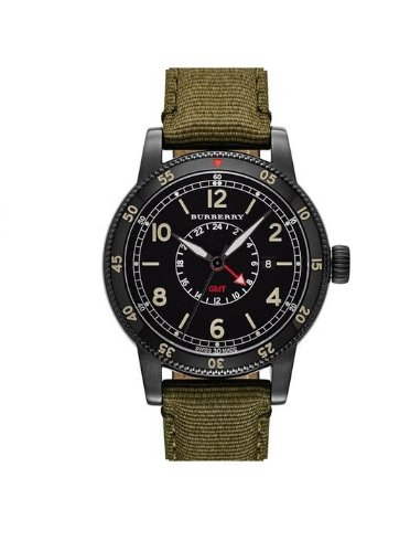 Burberry Gmt The Utilitarian Black Dial Olive Green Nylon Mens Watch Bu7855
