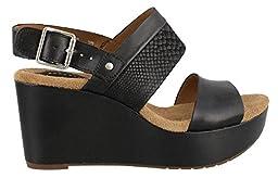 Clarks Women\'s Caslynn Kat Wedge Sandal, Black, 9 M US