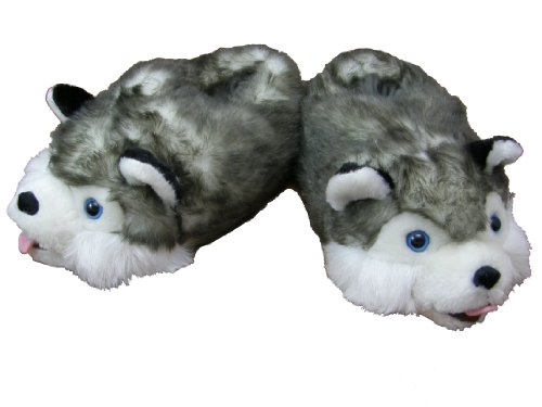 Plush Slippers Husky Kids and Juniors to size 1