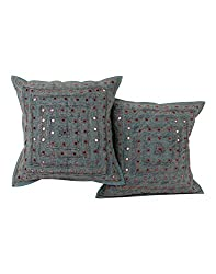 Indian Bluish Gray Set of 2 Living Room Accessories Cushion Cover 16 by 16 Striped Lace Work Pillow Covers Handmade Cotton Throw Pillow By Rajrang