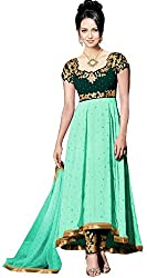 Clickedia Women & Girls Embroidered High Low Semi-stitched Green Georgette salwaar suit Anarkali dress Material with contrast churidaar and empire top