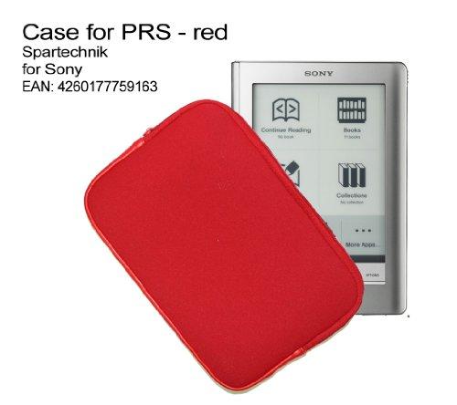 Zipper Tasche Sony PRS mit Reissverschluss -rot. Neopren Case für E-Book Reader SONY PRS-505 PRS-600 Touch - preiswerte & sichere Tasche für elektronische Buch, Farbe rot